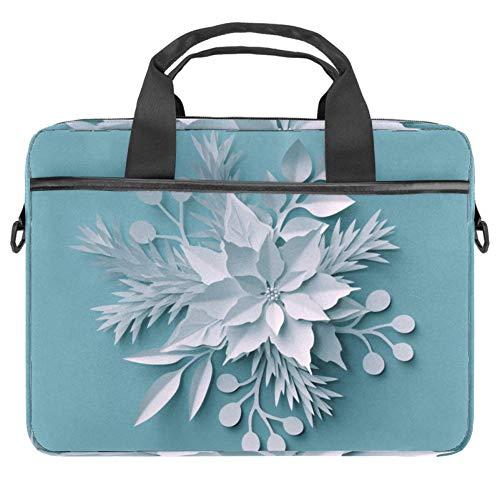 Laptop-Hülle mit weihnachtlichem Hintergrund, weiße Papier-Schnittblumen, Segeltuch-Muster, Aktentasche, Laptop-Schultertasche, Kuriertasche, Hülle für 13,3-14,5 Zoll MacBook Laptop Aktentasche