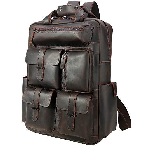 TIDING Zaino da uomo in pelle Daypack da 15,6 pollici, borsa per laptop con tracolla Trolly Strap, grande capacità per gli uomini, borsa a tracolla marrone