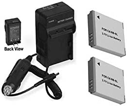 2 Batteries + Charger for Canon S95, Canon SD1300IS, Canon SD1200IS, Canon Digital IXUS 300 HS, Canon Digital IXUS 310 HS