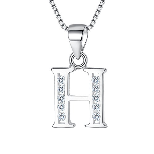 Clearine Women 925 Sterling Silver Cubic Zirconia 26 Letters Alphabet Personalized Charm Pendant Necklace'H'