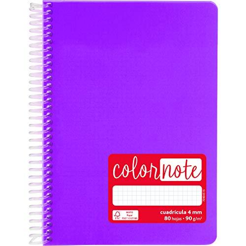 Grafoplás 88533335. Cuaderno con Espiral A5, Cuadriculado 4 mm, 80 Hojas, 90 g, Violeta, Tapa Polipropileno, Serie ColorNote