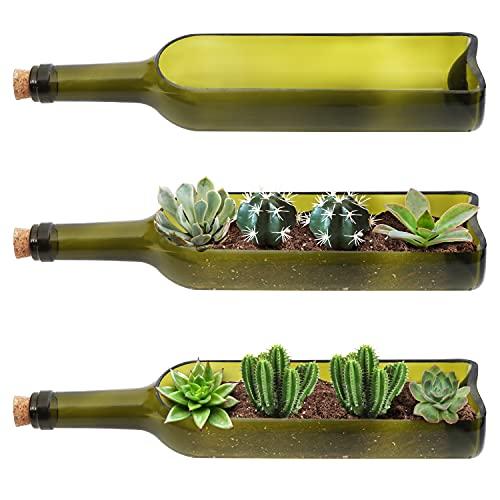 Maceta Botella de Vino (3 Piezas) - Macetas Decorativas 22,5cm de Largo, 5,8cm de Ancho Maceteros Interior Tiestos para Plantas, Escena Romántica Flores, Terrario Centro de Mesa Manualidades