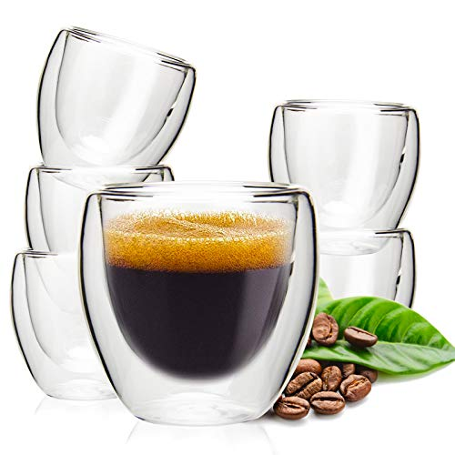 Double Wall Espresso Cups, OAMCEG 6 Pack 2.7 Ounce Thermo Insulated Small Espresso Cups, Latte Cappuccino Milk Juice Coffee Cups Espresso Shot Glasses