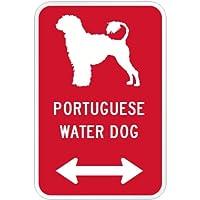 PORTUGUESE WATER DOG マグネットサイン レッド:ポーチュギーズウォータードッグ(大) シルエットイラスト&矢印 英語標識デザイン Wa.