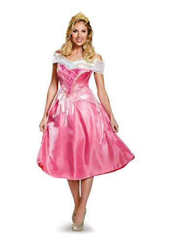 Disney Disguise Women s Aurora Deluxe Adult Costume, Pink, Large