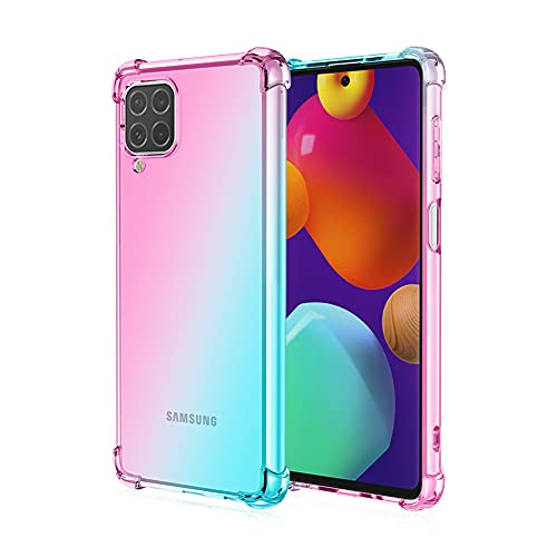 Funda para Samsung Galaxy F62/M62, RonRun Carcasa Ultra Fino Flexible Gradiente Transparente TPU Anti-arañazos Antigolpes Carcasa para Samsung Galaxy F62/M62 Rosa/Verde