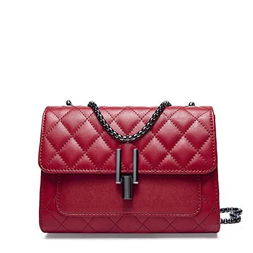 BERJMA Bolso de hombro de las mujeres de cuero genuino bolso de las mujeres bolso de mensajero moda rombo cadena cuero señoras bolso burdeos