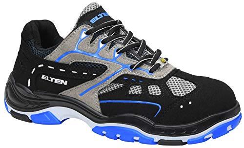 ELTEN Sicherheitsschuhe EASY blue ESD S1, Herren, sportlich, leicht, schwarz/blau, Stahlkappe - Größe 43