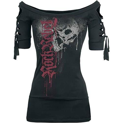 XOXSION Damen Gotisch T-Shirt Sommer Oberteile Mode Totenkopf Gedruckt Hemd Cooles Schwarzes Bluse Slash Slit Tops Übergröße EIN Wort Kragen Trägerlos Tunika(Schwarz,S)
