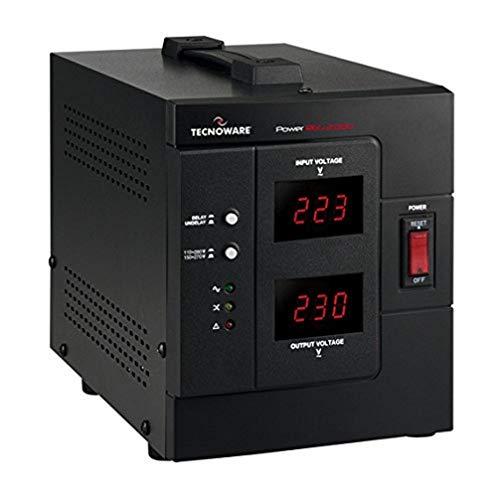 Tecnoware Power Systems Reg - Estabilizador Electrónico Monofásico de Oficina - Estabilización ± 8% - Entrada Cable con Enchufe SCHUKO, 2 Salidas SCHUKO Italia - Potencia 2000 VA