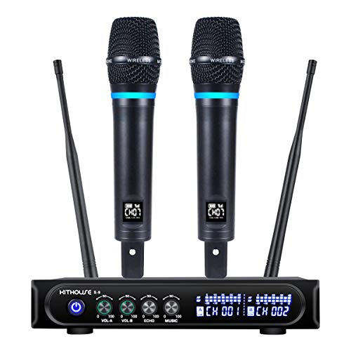 Kithouse S9 UHF Rechargeable Wireless Microphone System Karaoke Microphone Wireless...