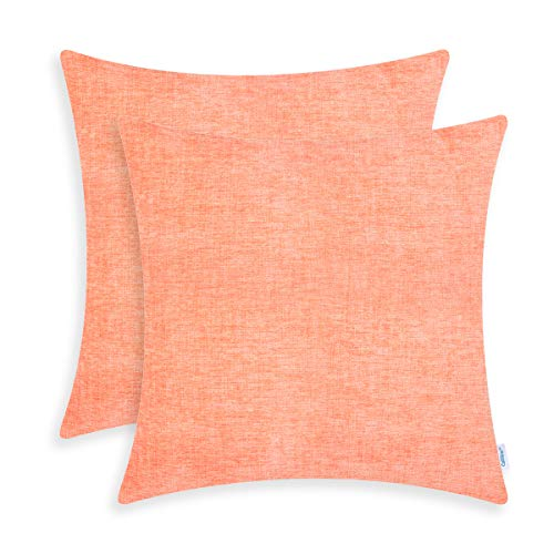 CaliTime Pack of 2 Cozy Throw Pillow Covers Cases for Couch Sofa Home Decoration Solid Dyed Soft Chenille 18 X 18 Inches Cantaloupe