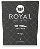 Royal Thin Latex Condoms - Lubricated with Unflavored Edible Lubricant - Strong, Non-Toxic Latex - All Natural, Organic, Vegan, No Cruelty Contraceptive - Snug Fit & Size - 3 Pack