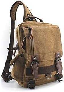 Jiao Miao Canvas Shoulder Backpack Travel Rucksack Sling Bag Cross Body Messenger Bag,180308-Coffee