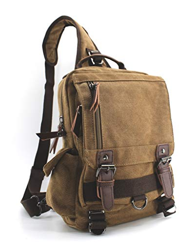 Jiao Miao Canvas Shoulder Backpack Travel Rucksack Sling Bag Cross Body Messenger Bag,180308-Coffee