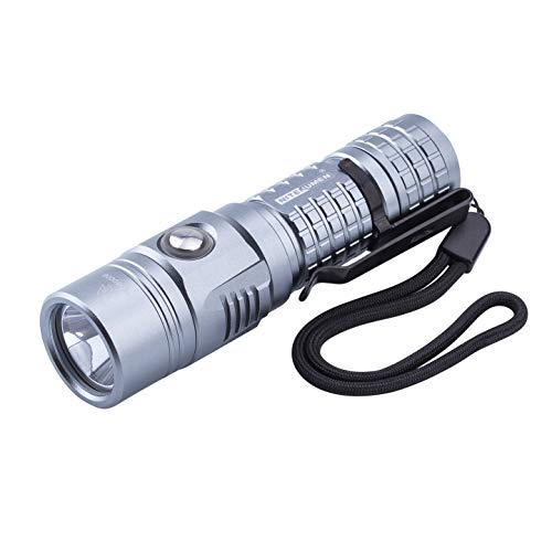 USB Rechargeable Flashlight,Super Bright,1000 Lumens Nitenumen TP CREE XP-L LED Flashlight,Compact Waterproof Flashlight with 18650 3400mAh Li-ion Battery (Grey)