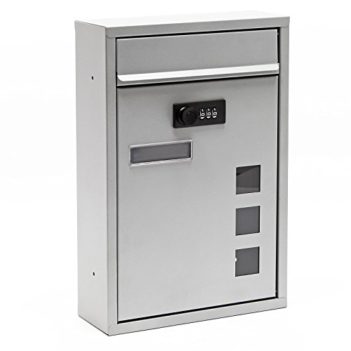 Moderner Briefkasten silberfarben Zahlenschloss Wandbriefkasten pulverbeschichtet