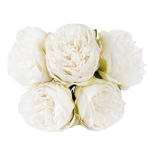 U'Artlines - Ramo de flores de seda de peonía artificial vintage para decoración, 2 unidades, color café, 5 Heads White, 1 pack