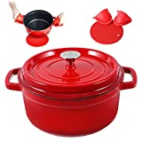 Enameled Cast Iron Dutch Oven Pre-seasoned Pot with Lid & Handles, 4 Quart Enamel Coated Cookware Pot with Silicone Handles and Mat for Cooking, Basting, or Baking, Red