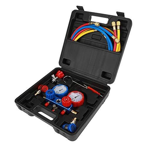 3-drożny zestaw pomiarowy do diagnostyki z walizką, manometr płynu chłodniczego do klimatyzacji pasuje do chłodników R134A, z wężami do ładowania 15 m, 2 adapterami