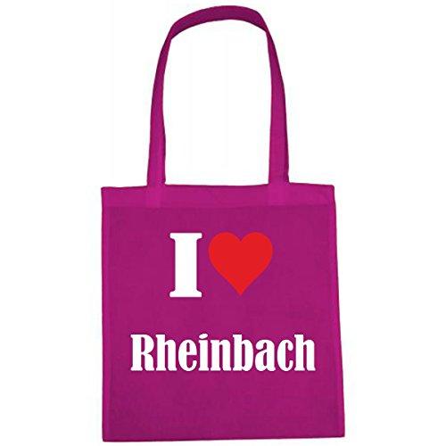Tasche I Love Rheinbach Größe 38x42 Farbe Pink Druck Weiss