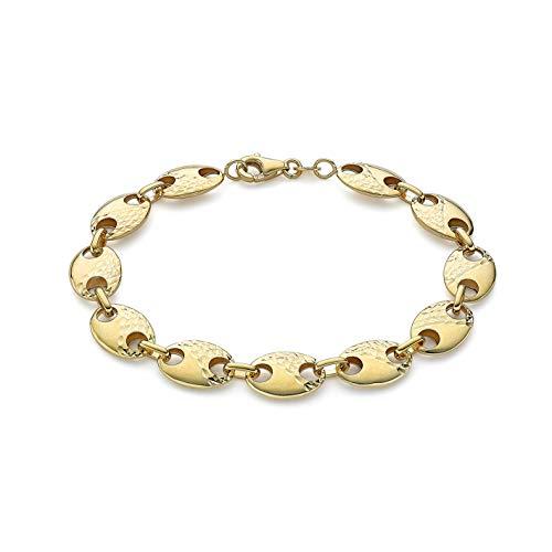 Carissima Gold Pulsera para Mujer en Oro Amarillo 9K (375), Cadena Rambo Inflada con Detalles Corte de Diamante (8,7mm) - 18cm/7'