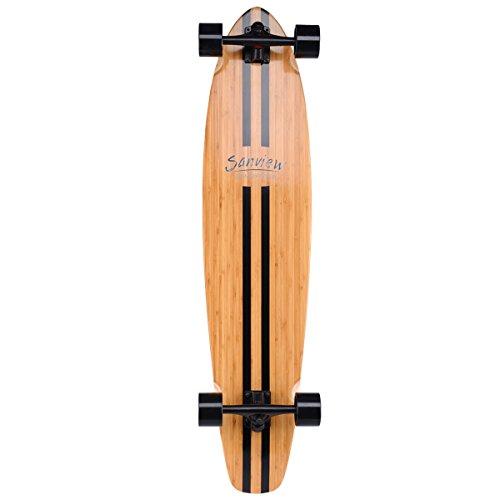 SANVIEW 42inch Complete Bamboo Longboard Skateboards Cruiser Black