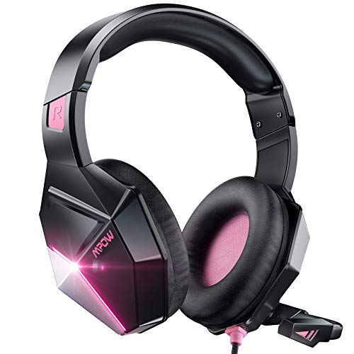 Mpow EG10 Gaming Headset für PS4 PS5 Xbox one PC Switch, 3.5mm Surround Sound Kabelgebundenes mit 50MM-Treiber, LED Over-Ear Gaming Headset mit Noise Cancelling-Mikrofon, Rosa