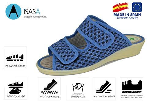 Zapatilla de señora Isasa Capri Azul, de Farmacia, Doble Velcro Abierta Fabricada en Rejilla MORBI Azul con Dos velcros para un Ajuste idoneo para pies delicados (Numeric_39)