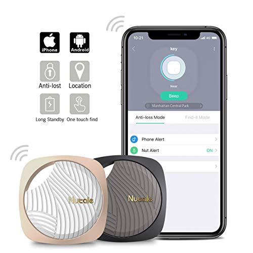 Nutale Focus Bluetooth Key Finder Smart Tracker – Kids, Pet, Dog, Car Key, Wallet Tracker with Phone App – Key Locator Tracking Device with Anti-Lost Alarm Reminder, 150 ft. Range (Black+Gold, 1 Pack)