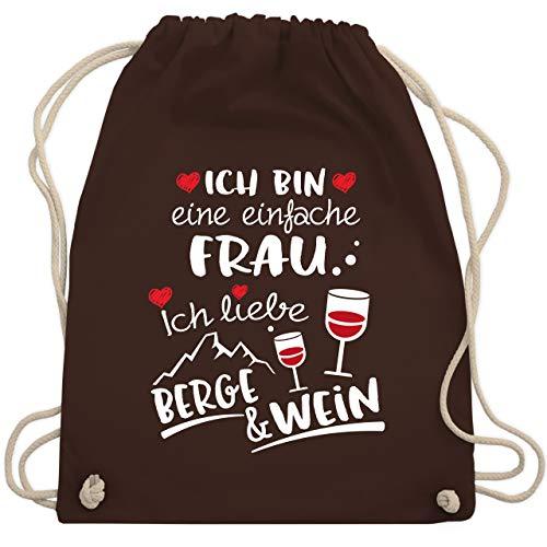 Après Ski - Einfache Frau - Berge & Wein - weiß - Unisize - Braun - Fun - WM110 - Turnbeutel und Stoffbeutel aus Baumwolle