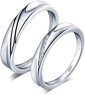 Infinite U Simple Wave de plata de ley 925 con circonita cúbica para parejas, anillo de compromiso, para aniversario. Tamaño: 15,40-20,02 mm