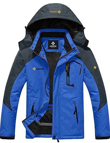 GEMYSE wasserdichte Skijacke für Herren Winddichte Fleece Outdoor-Winterjacke mit Kapuze (Blaue Grau,M)