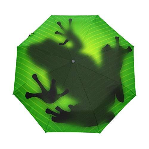 Sombra De Rana Verde Paraguas Plegable Hombre Automático Abrir y Cerrar Antiviento Ligero Compacto Paraguas para Viajes Playa Mujeres Niños Niñas