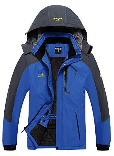 Men's Waterproof Ski Jacket Fleece Windproof Mountain Winter Snow Jacket Warm Outdoor Sports Rain Coat with Hooded U220WCFY028,Blue,XL