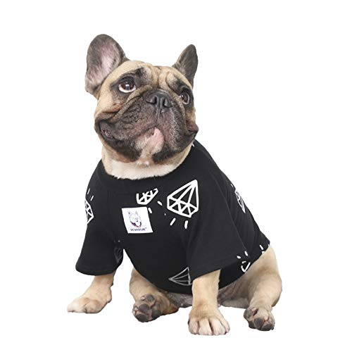 iChoue Rich Dog Series Pet Clothes Shirt T-Shirt Pullover Tank Top French Bulldog Pug Boston Terrier T-Shirt - Black Diamond L