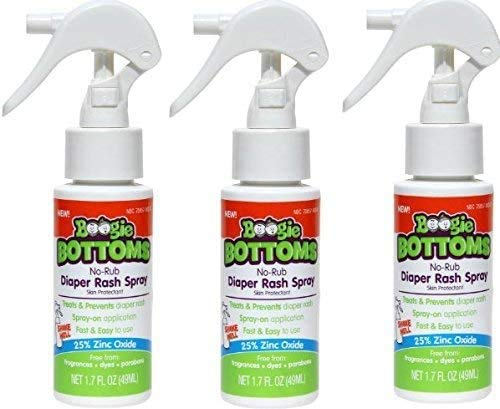 Diaper Rash Cream Spray by Boogie Bottoms, Travel Friendly No-Rub Touch Free Application for Sensitive Skin, from The Maker of Boogie Wipes, Over 200 Sprays per Bottle, 1.7 oz, Pack of 3