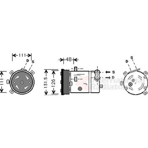 Preisvergleich Produktbild VAN WEZEL 3700K280 Kompressor,  Klimaanlage