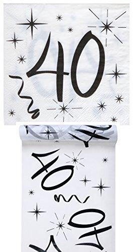 Geburtstag Set / Tischband 40 + Servietten 40 / Geburtstagsdekoration / Servietten 40 / Tischband Geburtstag