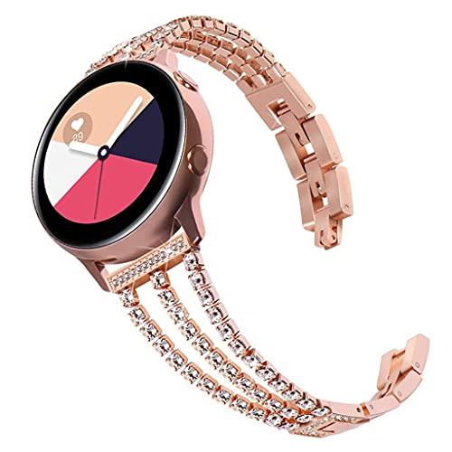 GROOMY Correa, Correa de Reloj de Acero Inoxidable con Diamantes de 3 Cadenas de Lujo HuaweiGT2 / GTGlory-Rose Gold -20