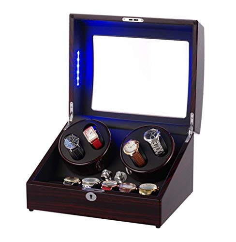NBVCX Home Accessories Wood Unisex Watch Winder LED Ambient Light Rotation Winders...