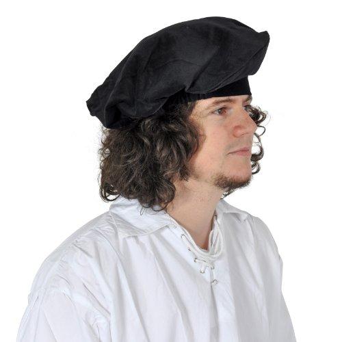 Elbenwald Mittelalter Barett Kopfbedeckung aus Samt für Damen und Herren, Gummizug, authentischer Schnitt