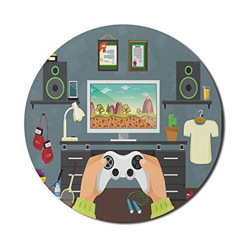 Gamer Mouse Pad für Computer, Gaming Guy in seinen flachen Diplomen Laute Lautsprecher Boxhandschuhe Springseil und Trophäe, rundes rutschfestes dickes Gummi Modernes Gaming Mousepad, 8 'rund, mehrfar