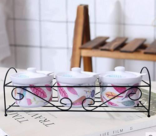 Scatola Di Condimento Zuccheriera In Ceramica Casa Cucina Cactus Foglie Vasetti Per Condimenti Al Sale Con Cucchiai