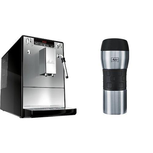 Melitta E 953-102 Kaffeevollautomat Caffeo Solo & Milk mit Milchschaumdüse, silber + Melitta 206056 IsolierTrinkbecher