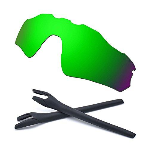 HKUCO For Oakley Radar EV Path Green Polarized Replacement Lenses And Black Earsocks Rubber Kit