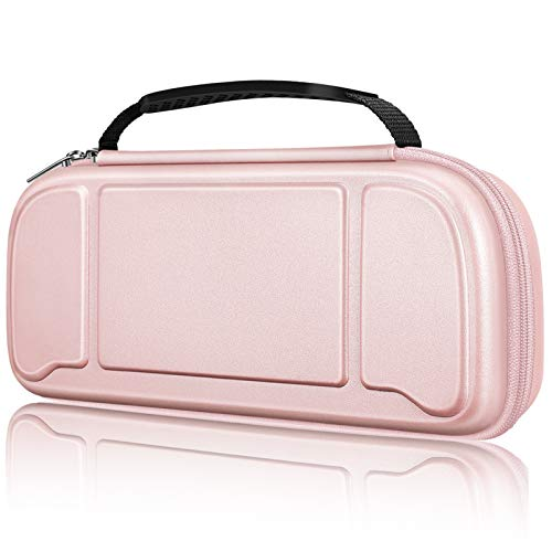 Fintie Carry Case for Hori Nintendo Switch Split Pad Pro Controller - [Shockproof] Hard Shell Protective Cover Travel Bag with 30 Game Card Slots & Inner Pocket (Rose Gold)