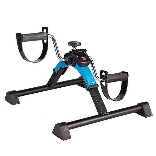 Ejercitador de pedal plegable, mini bicicleta estática con resistencia ajustable para entrenamiento de rehabilitación de piernas, Entrenador de Pies y Manos/Blue / 43x28x14.5cm