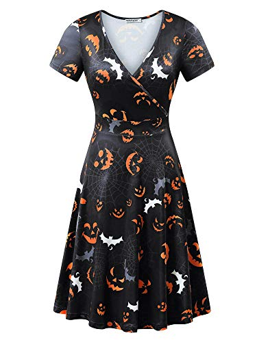 MSBASIC Vintage Midi-Length Dress Halloween Evening Dress (Black 2, S)