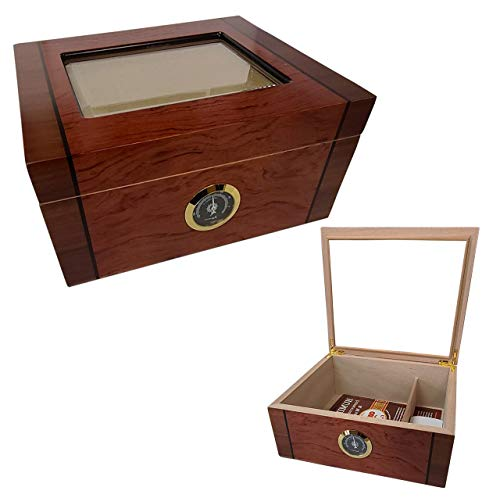 Cuban Crafters Deluxe Mio Glass Top Cigar Humidor for 40 Cigars